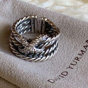 """David Yurman SS Diamond """"X"""" Crossover Ring"""